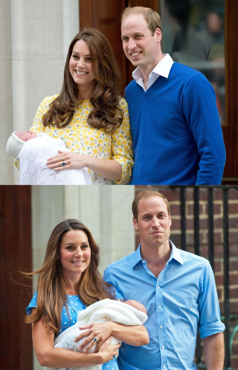 A comparison picture showing Kate Middleton & Prince William outside of the London hospital with their newborns